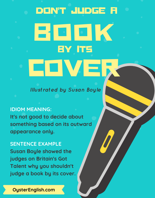 Book cover with a microphone image and the sentence example,