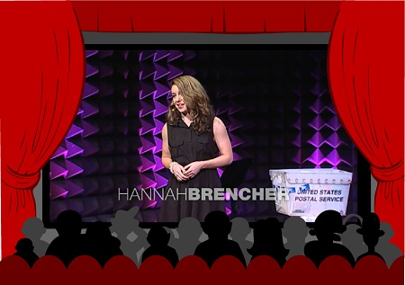 Hanna Brencher on stage giving her TED Talk