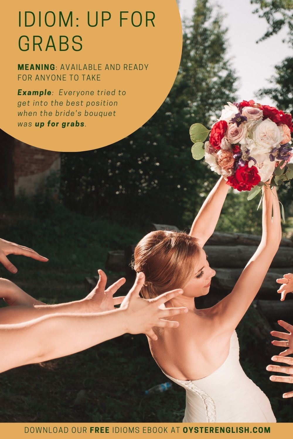 The bride holds her bouquet in the air and the wedding guests' hands are stretched out, ready to catch it.