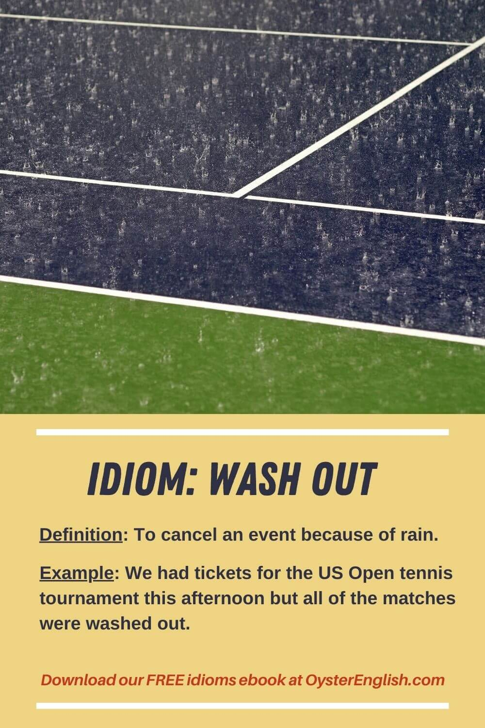 A downpour (lots of rain) on a tennis court: We had tickets for the US Open tennis tournament this afternoon but all of the matches were washed out.