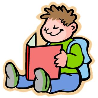 A boy is sitting down reading a book.