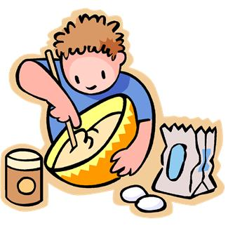 A boy is mixing batter to make a cake