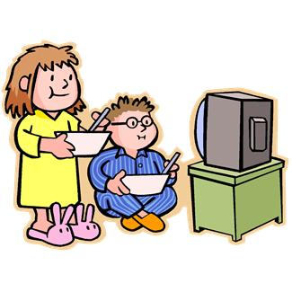 A boy and girl watch television