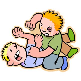 Two boys are wrestling and punching each other in a fight