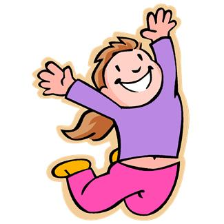 A girl jumps with her hands in the air above her head