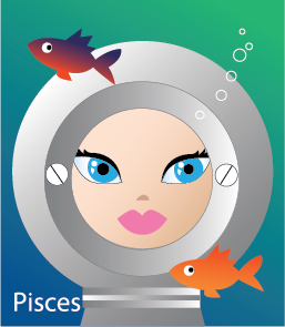 Illustration of head shot of a female underwater wearing a protective water helmet she can see through with fish circling around (representing Pisces)