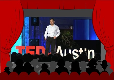 Jia Jiang on the stage giving his TED Talk.