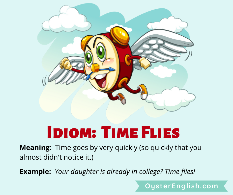 An illustration of a cartoon clock with wings flying through the sky. The definition of time flies and a sentence example are provided.