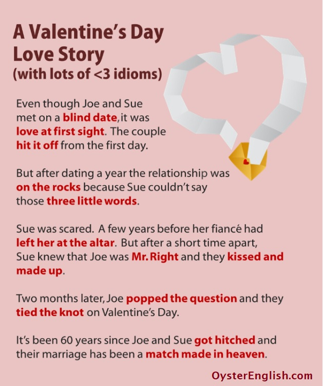 A Valentine's Day short story with eleven idioms and an image of a heart-shaped stream of paper coming out of an envelope.