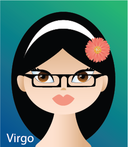 Illustration of head shot of a female  (representing Virgo)