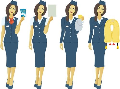 Four flight attendants holding up safety items: safety information card, oxygen mask, life vest.