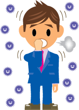 A cartoon man blowing his nose with pollen particles in the air all around him.