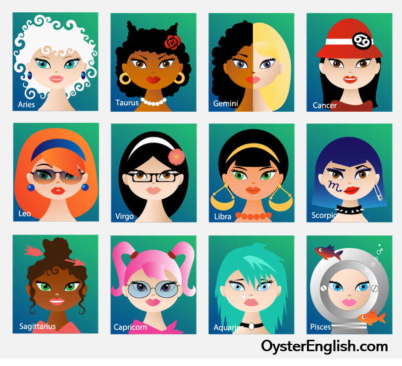 12 zodiac/astrology signs represented by illustrated females with various hairstyles, jewelry and accessories to represent each sign.