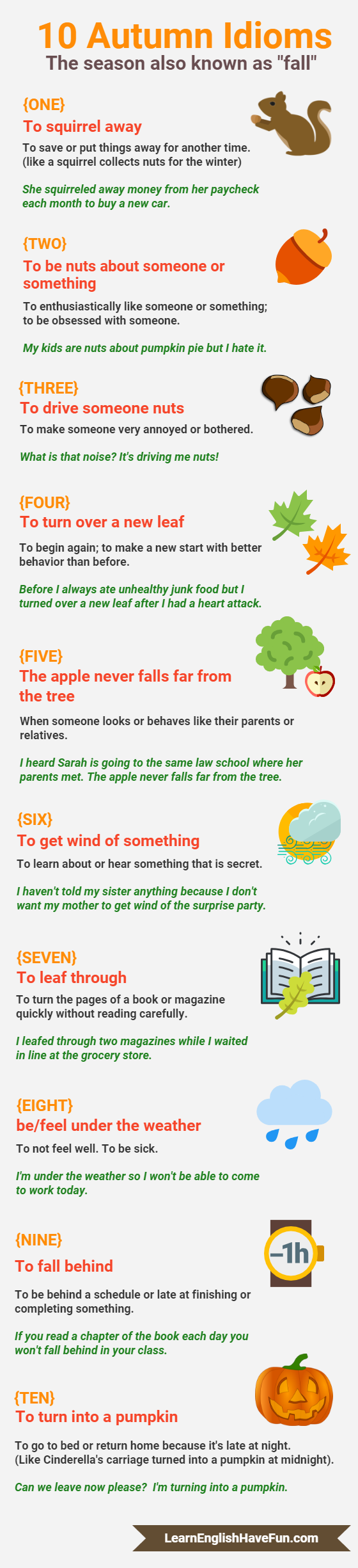 fall idioms infographic: squirrel away,be nuts about,drive someone nuts,turn over new leaf,apple never falls far from tree,get wind of, leaf through,under the weather, fall behind, turn into pumpkin