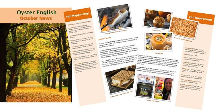 Image of October newsletter spread with cover and interior pages