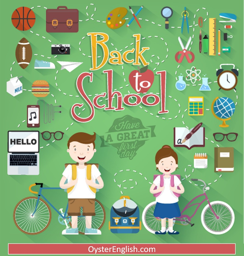 A back to school collage with two schoolchildren surrounded by many different school supplies