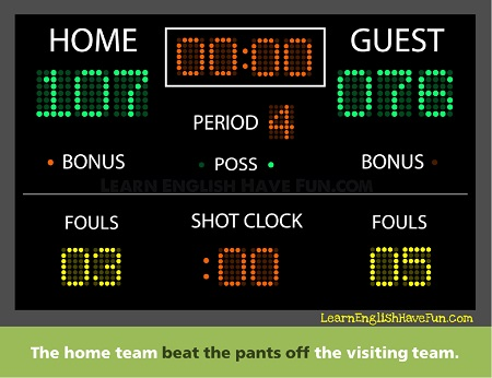 Image of a basketball scoreboard showing the home team won with 107 points to the guest's 76 points. Caption: The home team beat the pants off the visiting team.