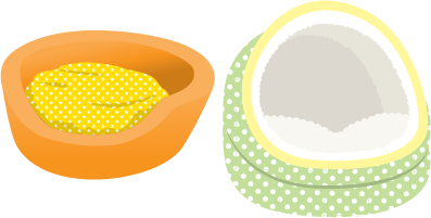 Illustration of two colorful dog beds