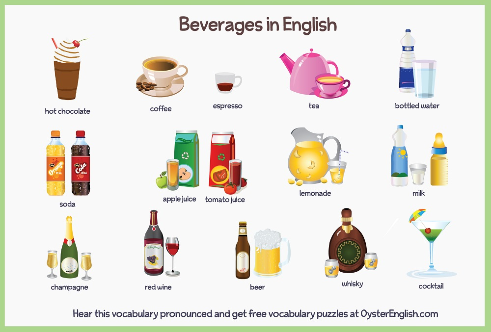 A collection of the beverages icons that are listed on this page