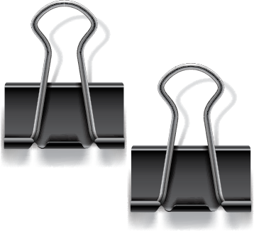Illustration of two binder clips
