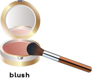 Image of a mirrored compact filled with blush and a brush to apply blush.