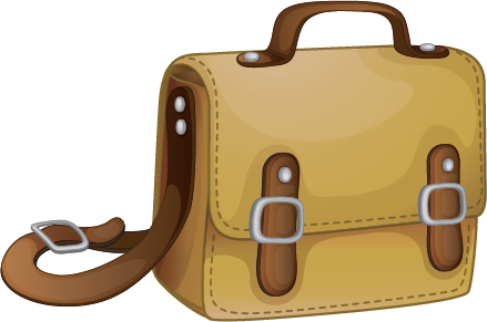 Illustration of a brown leather book bag