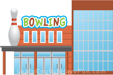 Illustration of the outside of a bowling alley building