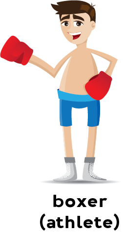 Illustration of a boxer wearing boxing gloves and shorts