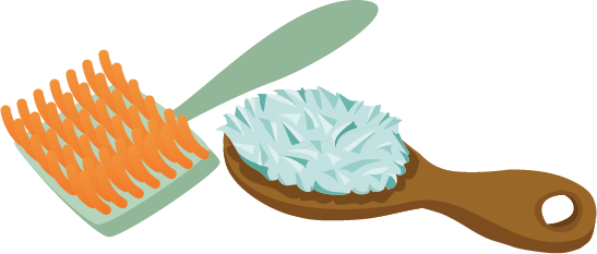 Illustration of two pet brushes