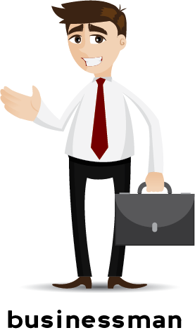 Illustration of a businessman in a suit and carrying a briefcase