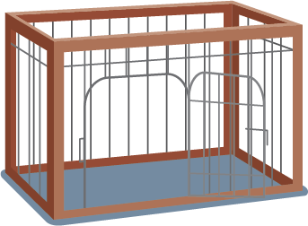 Illustration of a pet cage with a wooden and wire frame.