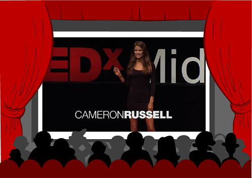 Model Cameron Russell speaking on the stage giving her TED Talk.