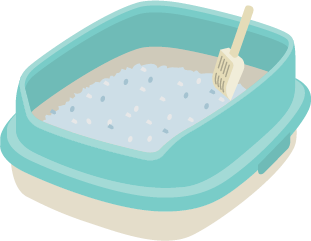 Illustration of a cat litter box filled with cat litter