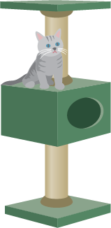 Illustration of a cat sitting on a cat tree