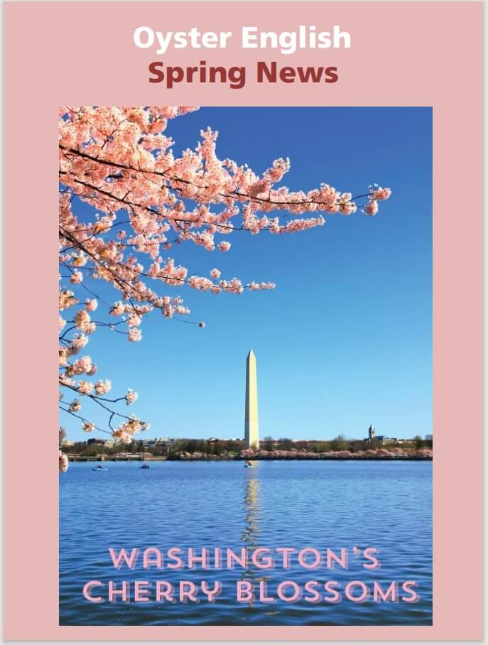 Newsletter cover showing a beautiful water view of pink Cherry Blossoms around the Jefferson Memorial and Tidal Basin in Washington, DC