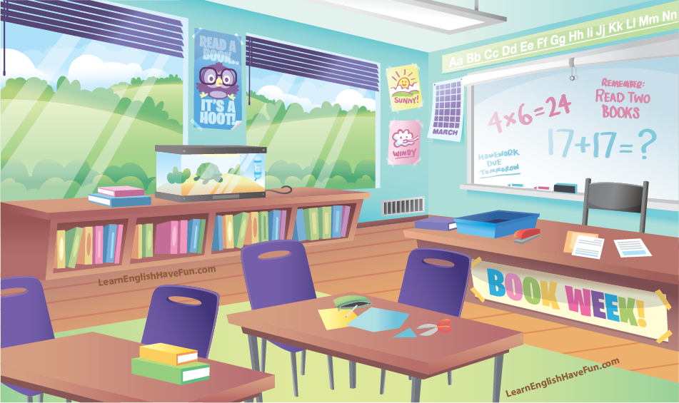 Illustration of a school classroom