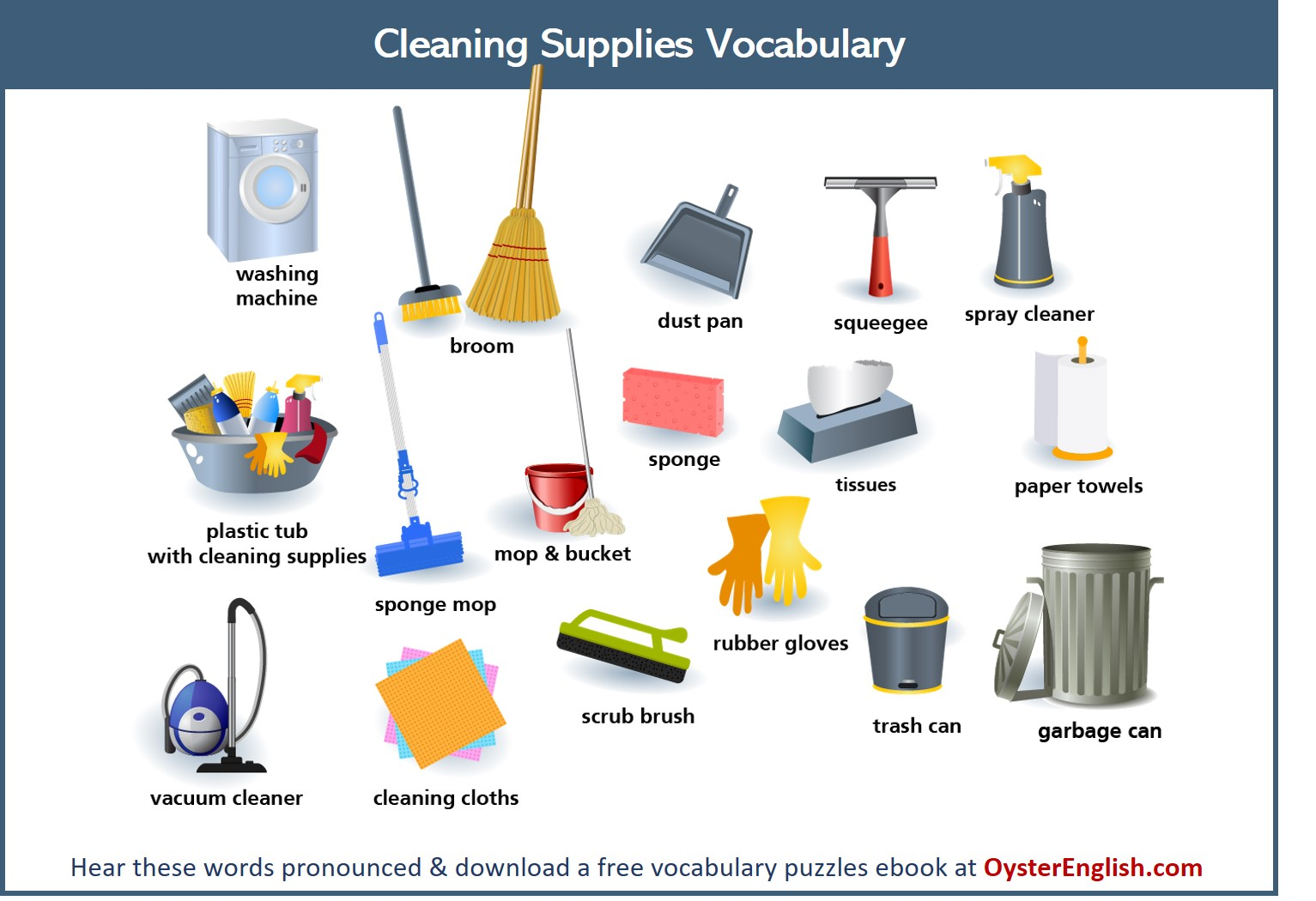 A collection of all of the different cleaning supplies featured on this page.