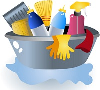 Illustration of a plastic basket filled with cleaning supplies
