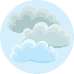 round icon with clouds representing cloudy weather