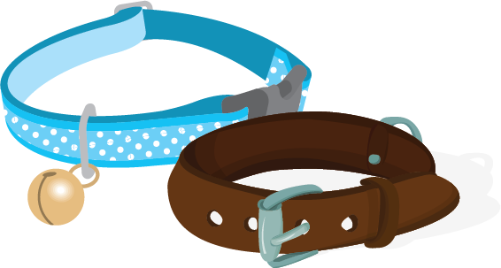 Illustration of two dog collars
