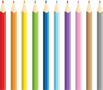 Illustration of a set of colored pencils