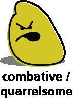 Cartoon blob shape that looks combative or quarrelsome