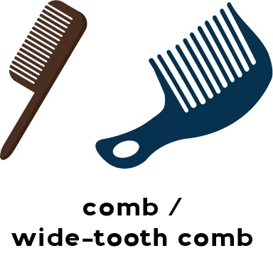 Illustrations of a comb and a wide-tooth comb
