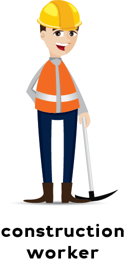 Illustration of a construction worker wearing an orange safety vest and yellow hard hat holding a tool.