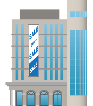 Illustration of a shopping mall building exterior