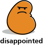 Cartoon blob shape that looks disappointed