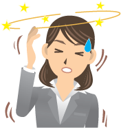 A cartoon woman with her eyes closed; she's off balance and is seeing stars because she's dizzy