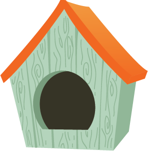 Illustration of a wooden dog house