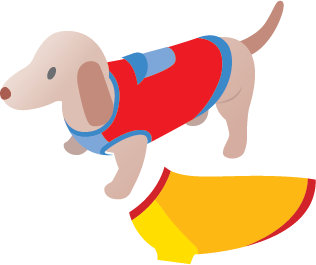 Illustration of a dog wearing a sweater plus another sweater in a different style