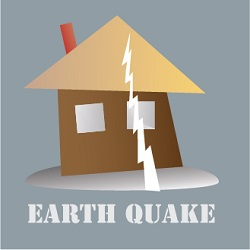 earth quake icon with house and crack going through it